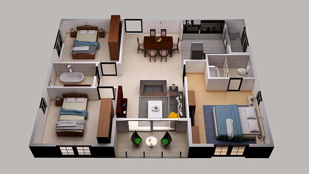 3D Floor Plan Design Services|3D House Design Plans| MAP ...