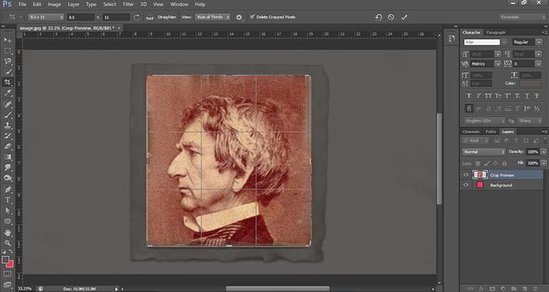 Video's van Crop tool photoshop settings for print
